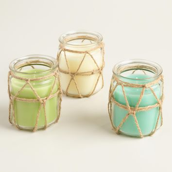 Rope Wrapped Citronella Jar Candles Set of 3