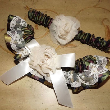 Camouflage Wedding Garter Set, Country GIrl Shabby Chic Camo Bridal Garters