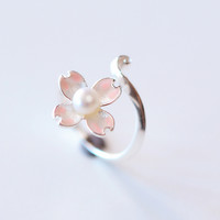 Shiny Gift New Arrival Jewelry Stylish Handcrafts Gifts 925 Silver Pearls Pink Floral Ring [10467597972]