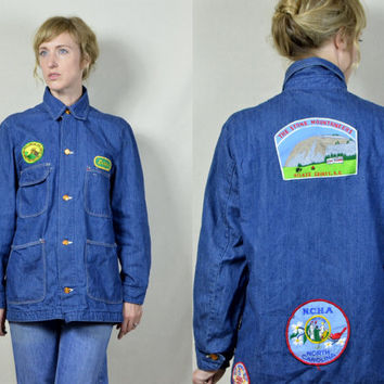 Vintage 1960's Sanforized Union Made Denim Wrangler Big Ben Patch Hippie Barn Jacket