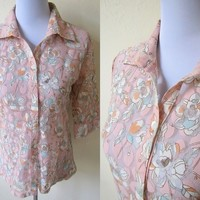 Spring Sale: sheer pink floral blouse (small)