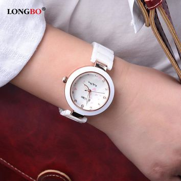 LONGBO New Fashion 2017 Ceramic Ladies Wrist Quartz Watch Women Luxury Girls Female Clock Hour Relogio Feminino Montre Femme