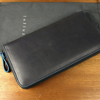 Baimiao Black Leather Zip Around Wallet : leather wallet / Woman Leather Wallet / Leather Clutch Wallet / Leather Zip Wallet.