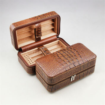 COHIBA Handsome Brown Croco Leather & Cedar Wood Portable Travel Cigar Humidor Box with Humidifier