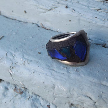 Mosaic Sliverware Ring, Blue Green ring, Stained Glass Art Ring, Pinky Ring
