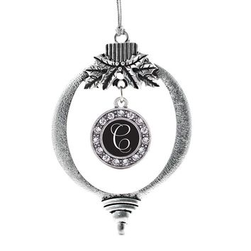 My Script Initials - Letter C Circle Charm Holiday Ornament