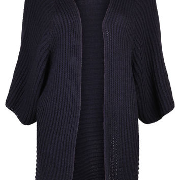 Navy Ribbed Knit Cardigan