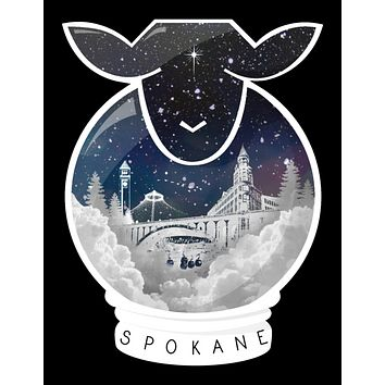 Holiday Edition Spokane Snow Globe Sheep Sticker