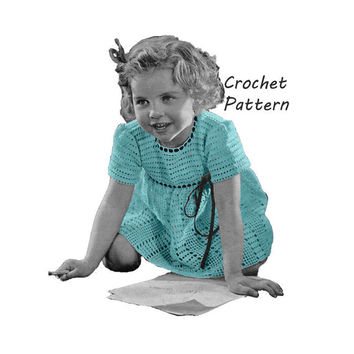 Little Girl's Dress Sizes 2 and 4 Crochet Pattern || Vintage 1940's || Reproduction PDF Instant Download Precious Pet 5265
