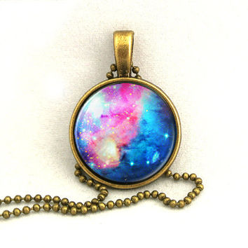 10 SALE Necklace Galaxy Pink Blue Jewelry Universe by timegemstone