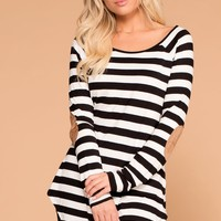 Callie Black Striped Elbow Patch Top
