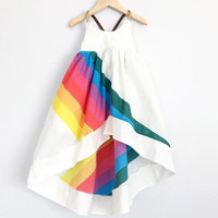 2017 New BOBO CHOSES Summer Clothing Girls Rainbow Print Dress Girls Sleeveless A Line Dress Robe Fille
