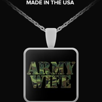 "Army Wife 18"" Silver Plated Pendant Necklace armywife-n"