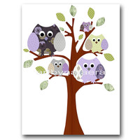 "Art for Children , Kids Wall Art, Baby Girl Room Decor, Nursery print 8"" x 10"" Print,OWL,bird,violet,yellow,artwork,green,tree,decoration"