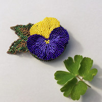Hand Beaded Pansy Flower Brooch in Dark Purple and Yellow