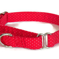 Red Polka Dot Adjustable Girl or Boy Dog Collar (Buckle or Martingale)