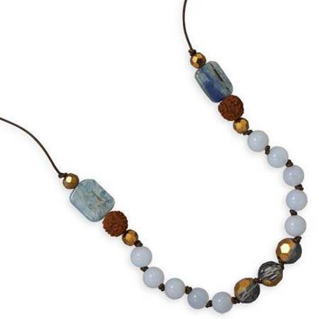 "16"" + 2"" Chalcedony and Kyanite Fashion Necklace"