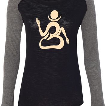 Womens Yoga T-shirt Living Body Om Preppy Patch Elbow Tee