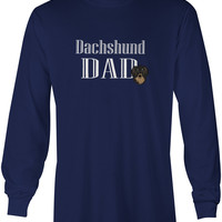 Longhair Black and Tan Dachshund Dad Long Sleeve Blue Unisex Tshirt Adult Double Extra Large BB5221-LS-NAVY-2XL