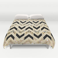 Black & Gold Glitter Herringbone Chevron on Nude Cream Duvet Cover by Tangerine-Tane
