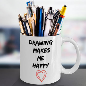 Drawing Makes Me Happy- Coffee Mug Gift Novelty Fun Ceramic Coffee Cup For Artists