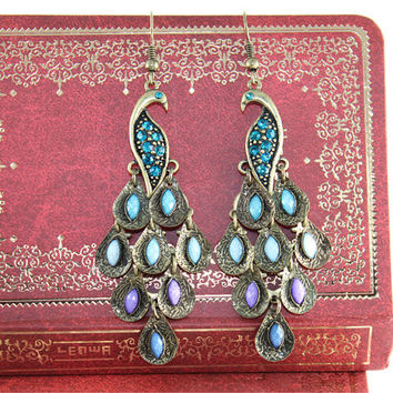 Peacock earrings vintage style-blue color
