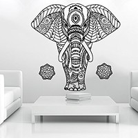 Wall Decal Elephant Vinyl Sticker Decals Lotus Indian Elephant Floral Patterns Mandala Tribal Buddha Ganesh Om Home Decor Art Bedroom Design Interior C16
