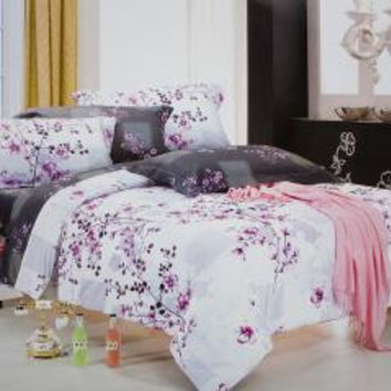 [Plum in Snow] Luxury 4PC Comforter Set Combo 300GSM (Twin Size) [Plum in Snow] Luxury 4PC Comforter Set Combo 300GSM (Twin Size)