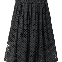 Black Elastic Waist Mesh A-line Pleated Midi Skirt