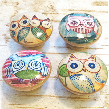 Owl Handmade Knobs Drawer Pulls, Kitsch Owl 4 Knob Set, Owls Cabinet Pull Handles, Owl Dress Knobs, Nursery Knobs, Kids Room, Made To Order