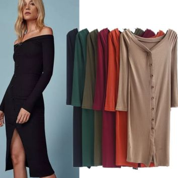 Fashion Sexy show thin long sleeve off shoulder knit dress