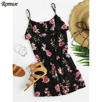 CREYCI7 ROMWE Summer 2017 New Sexy Women Ladies Floral Playsuit Black Sleeveless Open Shoulder Layered Floral Print Chiffon Romper