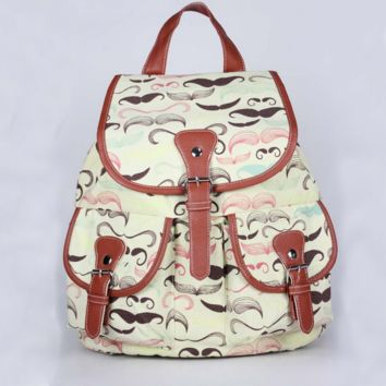 Moustache Travel Bag Canvas Lightweight Casual Backpack