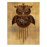 SOLD Steampunk Owl Vintage Style Postcards | Design by BluedarkArt