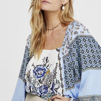 Free People - Positano Ivory Multi Print Long Sleeve Top