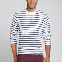 Vintage Wash Tee - Long Sleeve - White & Navy Stripe