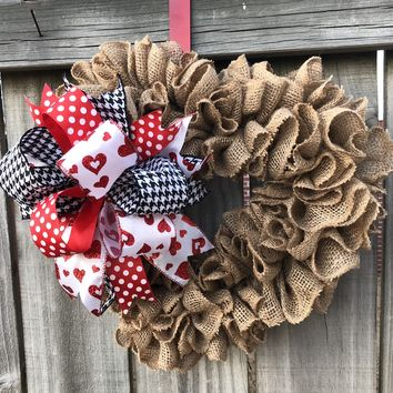 Burlap Valentine Heart Shaped Wreath | Door Decor Hanger | Rustic Wreath | Burlap Bowtique