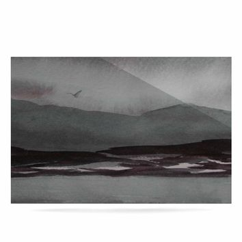 """Cyndi Steen """"Gray Landscape """" Gray Watercolor Painting Luxe Rectangle Panel"""