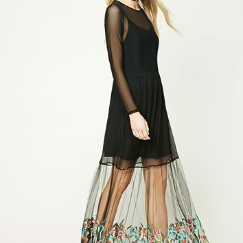 Embroidered Mesh Overlay Dress