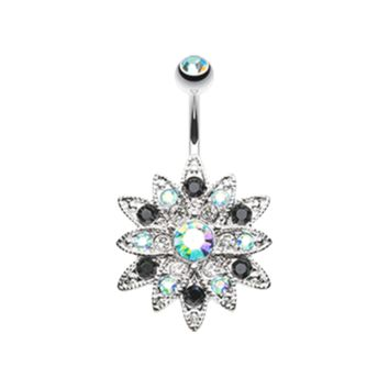 Radiant Chrysanthemum Flower Belly Button Ring 14ga Navel Ring Body Jewelry 316L Surgical Stainless Steel