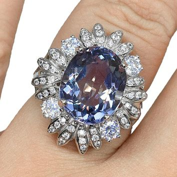 A Natural 8.7CT Oval Cut Alexandrite Engagement Ring