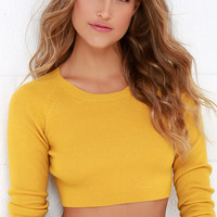 Glamorous Coast to Boast Mustard Yellow Crop Sweater