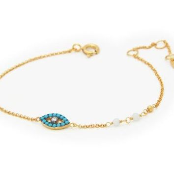 Nano Turquoise Evil Eye Bracelet in 18k Gold