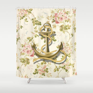 romantic vintage anchor shabby chic floral Shower Curtain by Chicelegantboutique