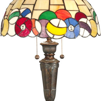 "0-022860>25""h Pool Ball 2-Light Tiffany Table Lamp Fieldstone"