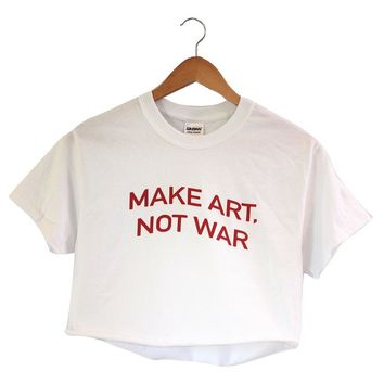 Make Art, Not War White Graphic Cropped Tee