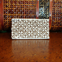 Hand Carved Wood Stamp: Checkerboard Stamp, Indian Flower Border Printing Block, India Henna Tattoo Mendhi Textile Stamp