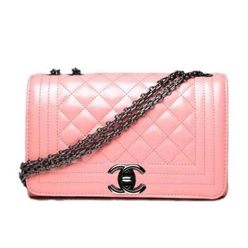 CHANEL Trending Women Sweet Metal Chain Leather Handbag Buckle Satchel Shoulder Bag Crossbody Pink I