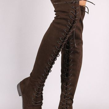 Wild Diva Lounge Suede Lace Up Over-The-Knee Combat Boots