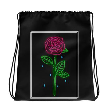 Crying Rose Drawstring Bag